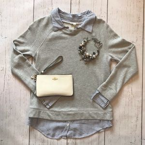 Joie Theia Crewneck/Faux Button Down
